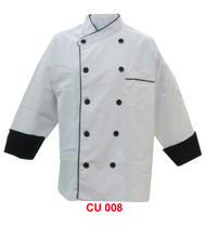 Chef Jacket White With Black Piping Sleeve Black (Normal Cutting)