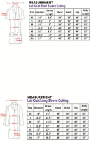 Female Lab Coat Measurement Table