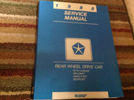 1988 Chrysler Newport & Dodge Caravelle Salon Service Shop Repair Manual RWD OEM