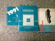 1991 Lincoln Continental Service Shop Manual Set W EVTM & SPECIFICATIONS BOOK