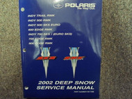 2002 Polaris DEEP SNOW INDY Trail Edge RMK SKS Service Repair Shop Manual OEM 02