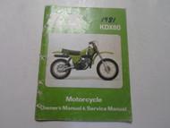 1981 Kawasaki KDX80 Motorcycle Owners Manual & Service Manual FACTORY WORN 81