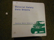 1998 DAEWOO Material Safety Data Sheet Service Repair Shop Manual FACTORY OEM 98