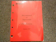 2001 ISUZU Discontinued Superseded Illustrated Service Parts Catalog Manual OEM