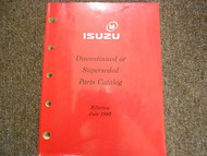 1992 ISUZU Discontinued Superseded Illustrated Service Parts Catalog Manual OEM