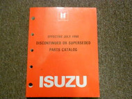 1990 ISUZU Discontinued Superseded Illustrated Service Parts Catalog Manual OEM