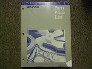 1996 HYUNDAI Parts Price List Manual APRIL Elantra Accent FACTORY OEM BOOK 96
