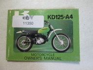 1978 Kawasaki KD125-A4 Motorcycle Owner's Manual KAWASAKI KD125-A4 78 DAMAGED