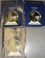 1999 FORD MERCURY VILLAGER Service Shop Repair Manual Set 99 FACTORY W EWD