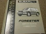 2002 Subaru Forester Service Repair Shop Manual Corrections FACTORY OEM BOOK 02