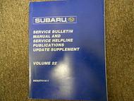 2001 Subaru Service Bulletin Service Repair Shop Manual FACTORY OEM BOOK 01