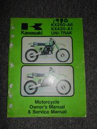 1980 Kawasaki KX250-A6 KX420-A1 UNI-TRAK Service Repair Shop Owners Manual WORN