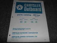 1971 Chrysler Outboard 45 HP Part Catalog Manual Tiller
