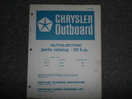 1967 Chrysler Outboard 20 HP Parts Catalog Autolectric
