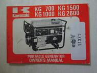 1978 Kawasaki KG 700 KG 1000 KG 1500 KG 2600 Portable Generator Owner's Manual x