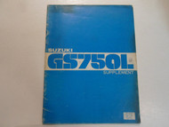 1980 Suzuki GS750L Supplement Manual WORN DAMAGED STAINED FACTORY OEM BOOK 80