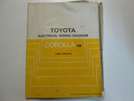 1987 Toyota Corolla FR Electrical Wiring Diagram Service Repair Manual USED WEAR