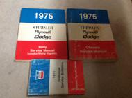 1975 Chrysler Plymouth Dodge Car Cars Service Shop Repair Manual Set W Tech Bull