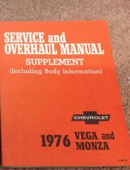 1976 GM Chevrolet Chevy Vega & Monza Service & Overhaul Manual Supplement OEM