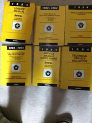 1994 JEEP CHEROKEE & WRANGLER Service Shop Repair Manual Set W DIAGNOSTICS + SUP