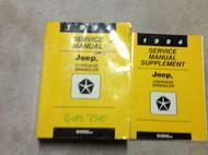 1994 JEEP CHEROKEE & WRANGLER Service Shop Repair Manual Set DEALERSHIP W SUPP