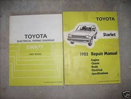 1983 Toyota Starlet Service Shop Repair Manual Set OEM W Electrical Wiring Book