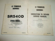 1980 Yamaha Snowmobile SR540D Service Repair Manual FACTORY OEM BOOK 80 2 V SET