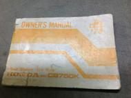 1978 HONDA CB750K CB 750 K Owners Manual NEW FACTORY BOOKLET