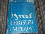 1972 PLYMOUTH SPORT SUBURBAN & VALIANT BODY Repar Service Shop Manual OEM