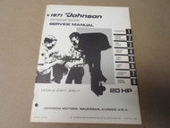 1971 Johnson Outboards Service Shop Repair Manual 20 HP 20R71 20RL71 OEM Boat x