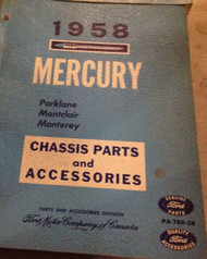 1958 FORD MERCURY Parklane Montclair Monterey Chassis Parts & Accessories Manual
