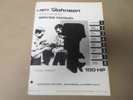 1971 Johnson Outboards Service Manual 100 HP 100ESL71 OEM Boat x