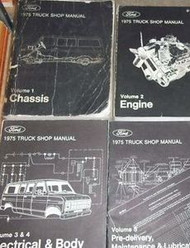 1975 Ford F100 F-150 250 350 Econoline Truck Service Shop Repair Manual Set 4 VO