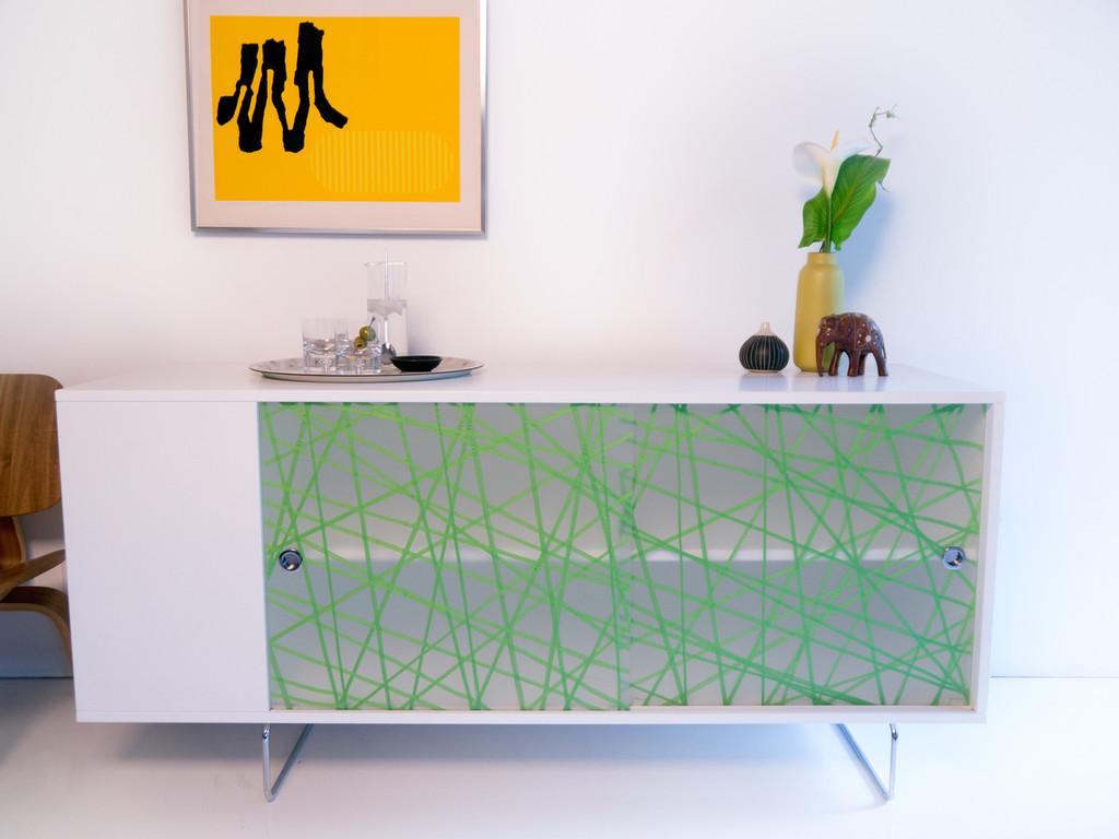 Alto Credenza shown with Green Strand panels.