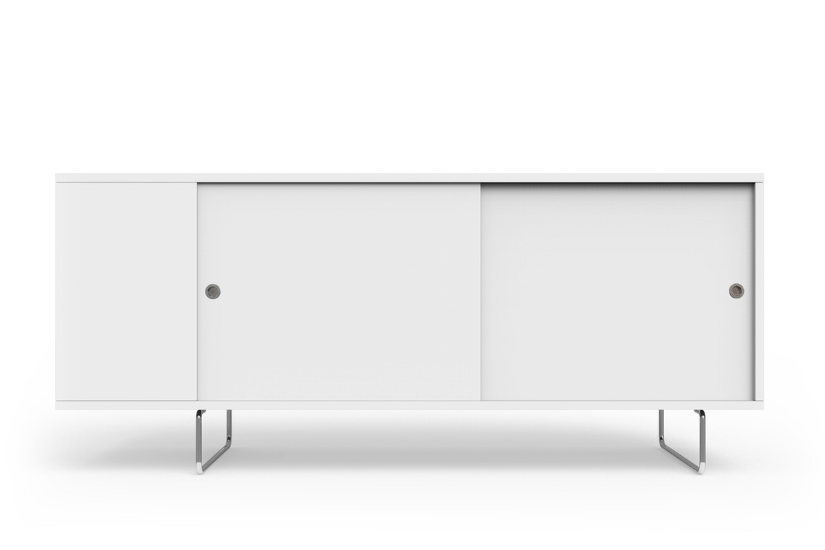 Design White Credenza alto credenza spot on square shown with white painted panels