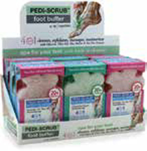 Case of 9 Assorted 20+ Pediscrubs with exfoliating foot buffer