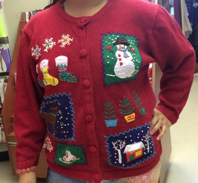 In addition to the original one-of-a-kind Christmas sweaters that we have available to rent, we also have brand new current day funny ugly Christmas