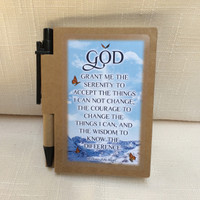 Recovery Line - Serenity Prayer - Blue Text - Journal