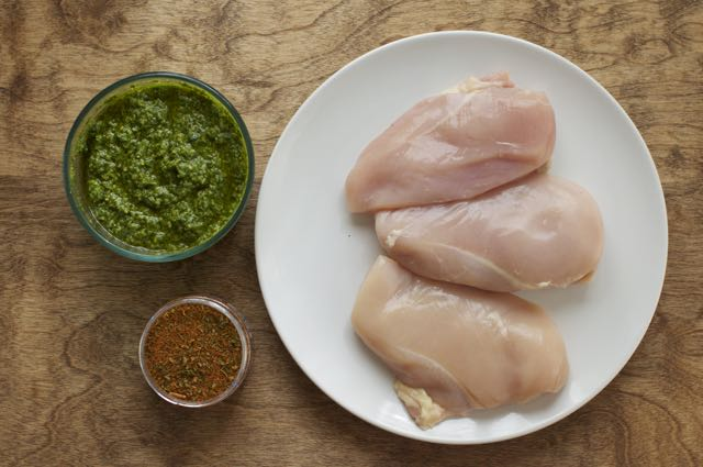 ingredients for Roasted jalapeño and cilantro pesto chicken salad