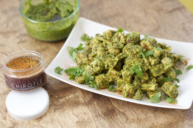 how to make roasted jalapeño and cilantro pesto chicken salad
