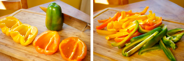 chop and dice bell peppers