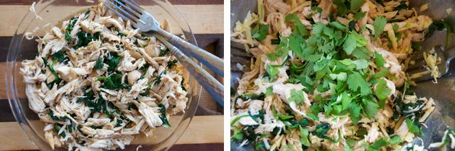 mix saute spinach and shredded chicken breast
