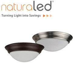 """NATURALED 15"""" NICKEL FLUSH-MOUNTED STREAMLINED CEILING FIXTURE - LED15FMS-154L840-NI 7428"""