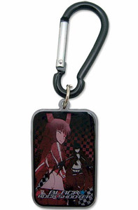 Black Rock Shooter Metal Keychain - Gold Saw Rectangle