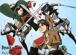 Attack on Titan Wallscroll - Levi, Mikasa & Eren Watermelo