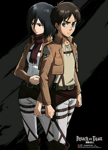 Attack on Titan Wallscroll - Eren & Mikasa Black
