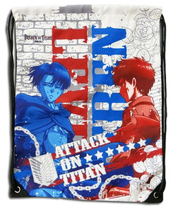 Attack on Titan Drawstring Bag - Levi & Eren White