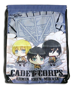 Attack on Titan Drawstring Bag - SD Armin, Eren & Mikasa