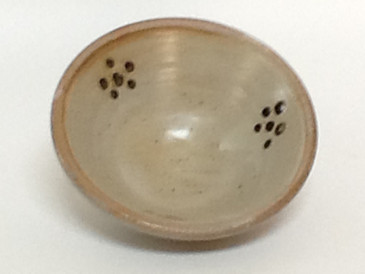 Salsa Bowl-Cream colored over brown dots