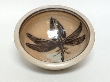 Cereal/Soup Bowl-Neolithic Shape-6.5 diameter-Blue Dragon Fly Pattern